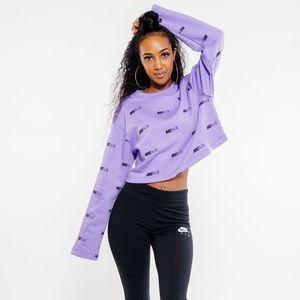 Nike Air Logo Allover Print Crop Sweatshirt Sz Med